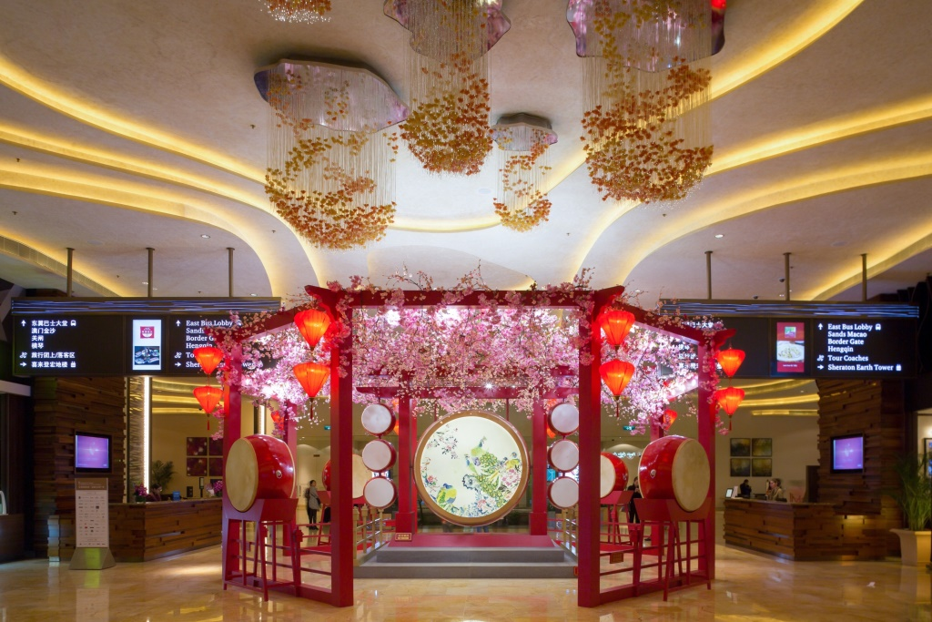 Peach blossom flower garden at Shoppes at Cotai Central