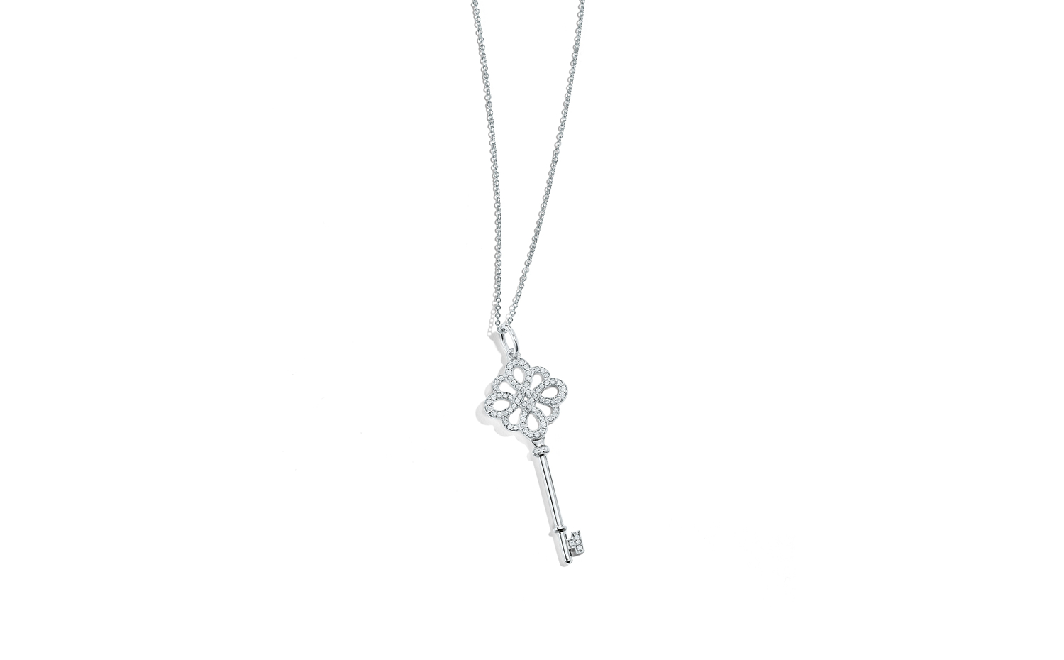 Tiffany Keys Knot Key Pendant in White Gold with Diamonds