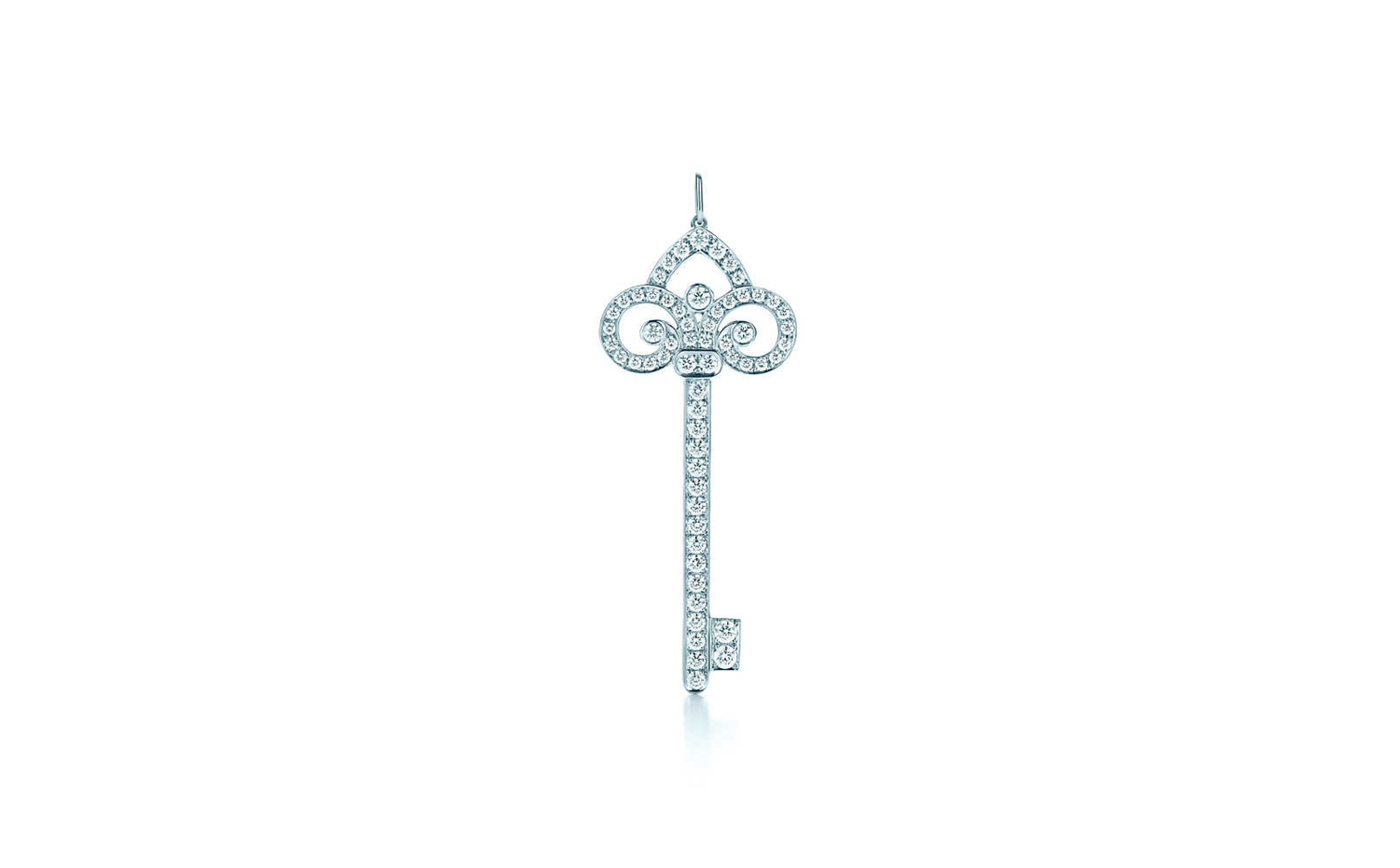 Tiffany Keys Fleur De Lis Key Pendant in Platinum - Long